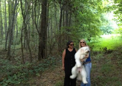 Mynoo and Kathryn Peters in the woods