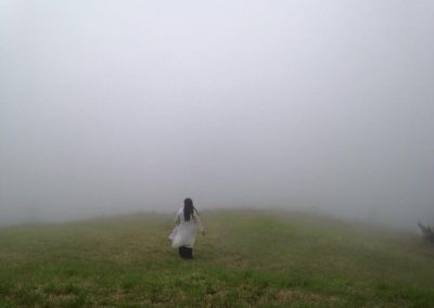 Mynoo on location in the fog in Hawaii