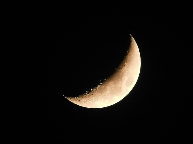 The moon in its crescent stage