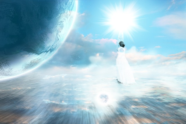 angel floating above the earth