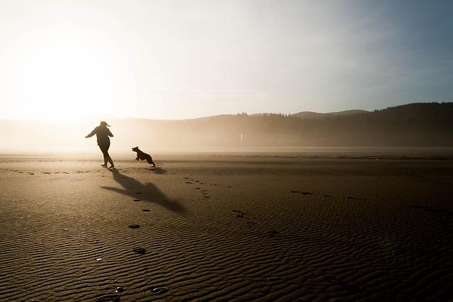 girl running with dog across a beach