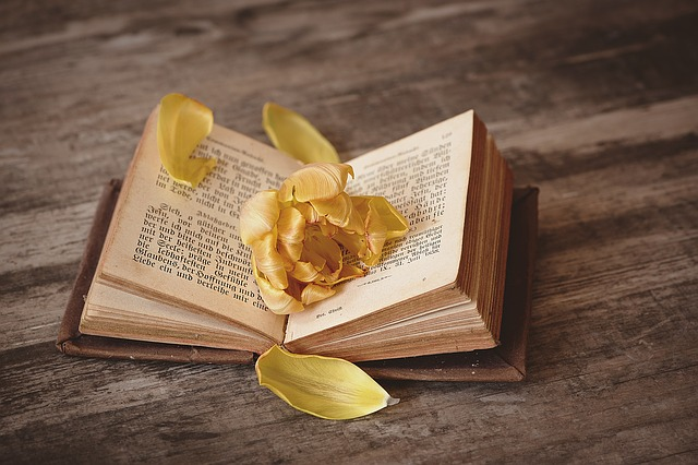 book is flowered with flower petals