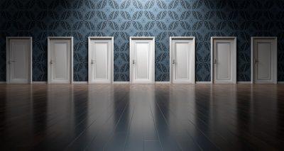 a wall full of doors