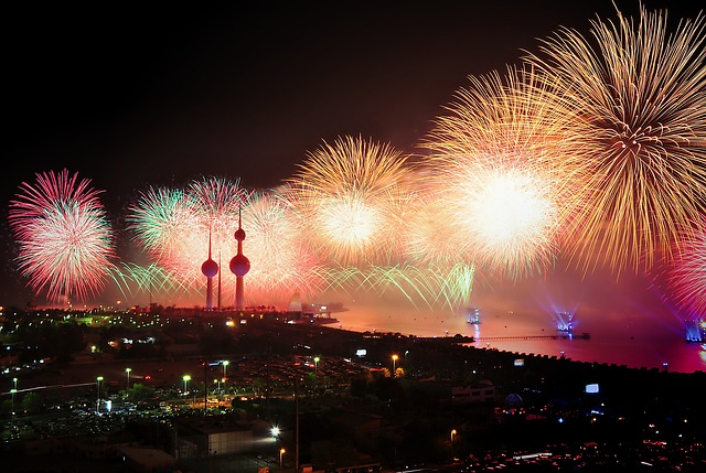 fireworks of the coast of a city