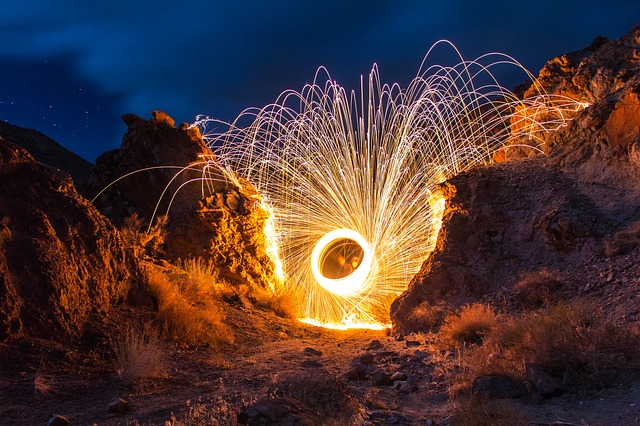fireworks spraying out of a circle