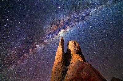 milky way galaxy over desert