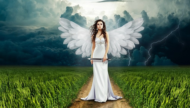 an angel holding a knife